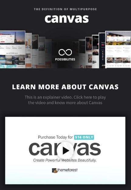 Mẫu website canvas.